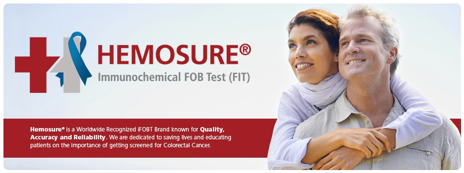 Hemosure - Home of the one-step iFOB Test (FIT) for CRC Screening. Hemosure is a worldwide recognized brand for Quality, Accuracy and Reliability. We are dedicated to saving lives and educating people on the important of getting screened for Colon Cancer.